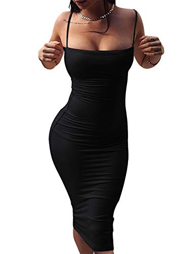 GOBLES Women's Sexy Spaghetti Strap Sleeveless Bodycon Mid Club Dress (S, Black) from GOBLES