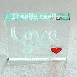 (I Really Really Love You Glass Token - Sentimental, Affirmation Romantic, Spaceform Keepsake - Christmas, Birthday, Valentine's Day Gift by Spaceform)