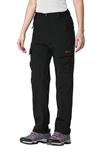 U.mslady Women's Winter Snow Fleece-Lined Soft-Shell Cargo Pants Black ()