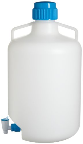 Bel-Art F11846-0050 Autoclavable Polypropylene Carboy with Spigot; 20 Liters (5.3 Gallons) - Polypropylene Carboy