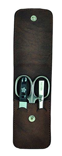 Pfeilring Pocket case, cowhide, brown, 3 piece, Nickel-plated