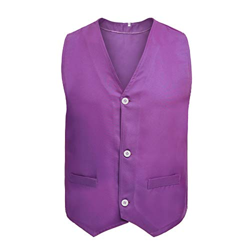 TOPTIE Button Vest Twill Volunteer Activity Vest, Waistcoat for Children-Purple-10/12