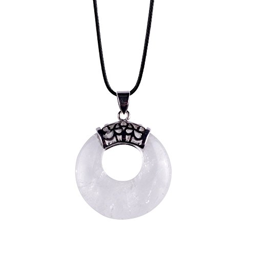 Ash Leather Bed - ZHEPIN White Gemstone Necklace Crescent Moon Leather Rope Lucky Gemstone Pendant Chain