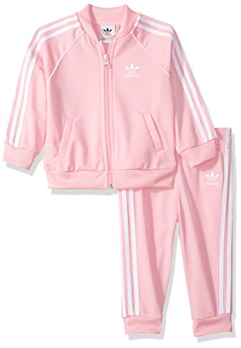 adidas Originals Unisex Baby Superstar Track Suit Set, pink/white 6M