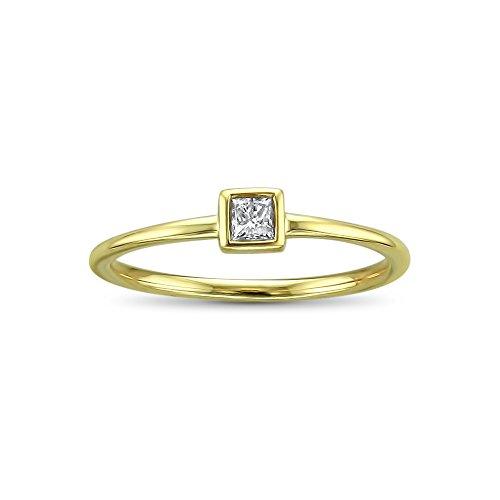 14k Yellow Gold Princess-Cut Solitaire Diamond Promise Ring (1/10 cttw, I-J, I2-I3), Size - Diamond Gold Ring 14k Promise Cut Princess