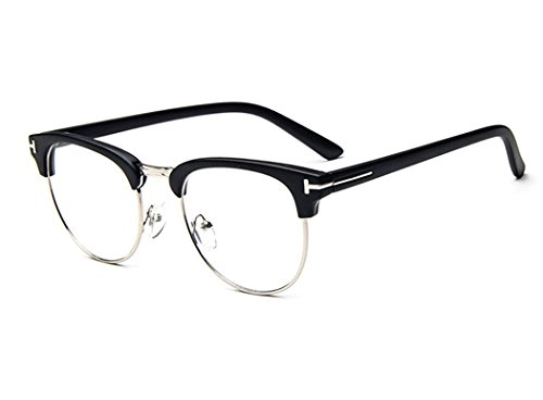 D.King Unisex Vintage Inspired Classic Half Frame Horn Rimmed Clear Lens - Face Round With Glasses