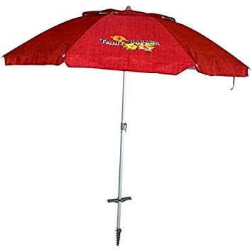 Tommy Bahama Sand Anchor 7 feet Beach Umbrella with Tilt and Telescoping Pole Red Stripe
