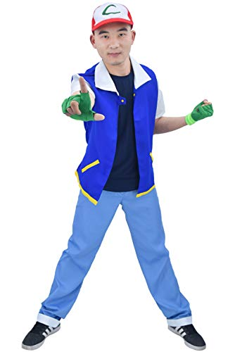 DAZCOS US Size Adult Anime Monster Trainer Cosplay Costume with Cap Gloves (Men M) Blue -