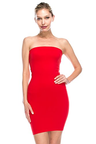 Kurve Strapless Stretchy Comfort Mini Sexy Tube Dress  -Made in USA- Small / Medium Red