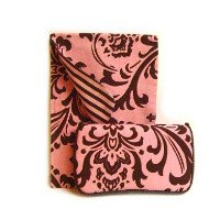 Pink damask Diaper clutch and baby wipes case