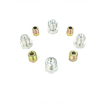 """Steel plugs for inverted flare, 3/8""""-24, 7/16""""-24, 9/16""""-18, 1/2""""-20 (2 of each size): Automotive"""