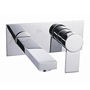 Chrome Finish Single Handle Widespread Wall Mount Solid Brass Bathroom Sink Faucet