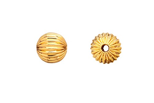 Round Corrugated Bead 18K Gold-Finished Brass 10mm Sold per 20pcs/pack (3pack bundle), SAVE $2 - 18k Gold Bead
