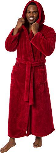 Ross Michaels Mens Luxury 400gsm Hooded Long Robe - Full Length Plush Big & Tall Bathrobe (Red, S/M)