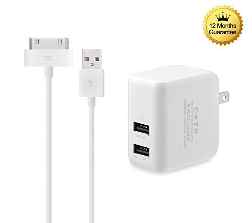 Iphone Wall 3g - Eaglewood 3.1A Dual Port Wall Power Adapter with Extra Long 6' USB to 30 Pin Charging Cable Cord for iPhone 4s/iPod Touch 3/4, iPad 2/3