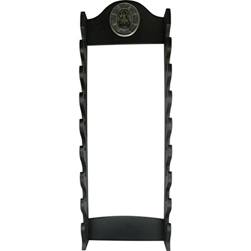 BladesUSA WS-8WX Sword Stand 8-Tiers Wall Mount Sword Stand with Samurai Logo - Martial Arts Weapons Rack
