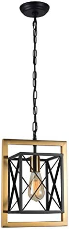 Baiwaiz Modern Industrial Hanging Pendant Light Fixture, 1-Light Luxury Black Metal Kitchen Island Lighting with Antique Gold Plated Frame Small Square Cage Light for Entry Foyer Porch Edison E26 115