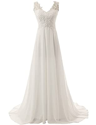 JAEDEN Elegant V-neck A-line Lace Chiffon Long Beach Wedding Dress