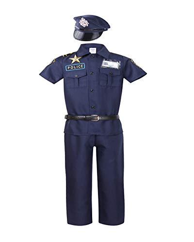 Police Officer Costume for Kids Deluxe Halloween Dress up (2-3Y, -