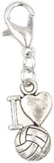 Its All About...You I Love Volleyball Clip on Charm Perfect for Necklaces and Bracelets 101Af