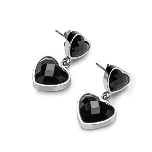 (Stainless Steel with Double Dangling Black Heart-shaped Glass Button Post Drop Stud Earrings for Women Girls)