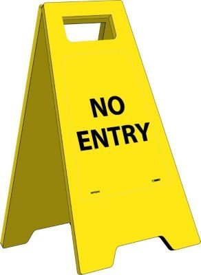NMC HDFS205 Heavy Duty Floor Stand Sign, Legend ''NO ENTRY'', 10-3/4'' Length x 24-5/8'' Height, Black on Yellow