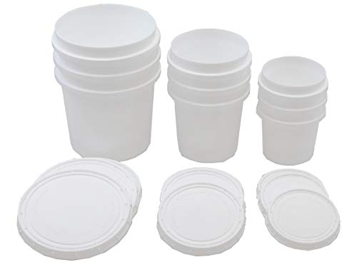 Superfos Vapor Lock HDPE Set of 3 sizes (Half-Pint, Pint, Quart) Containers and Lids Pack of - Container Hdpe