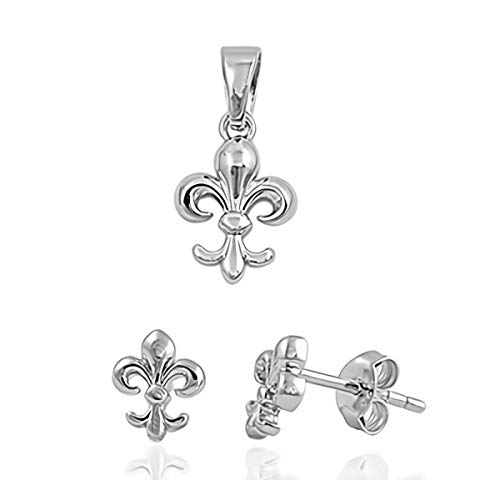 Glitzs Jewels 925 Sterling Silver Pendant and Earrings Jewelry Gift Set for Women (Fleur de Lis)