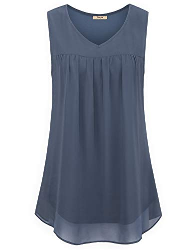Timeson Womans Plus Size Tank Tops Loose Fit, Women's Sleeveless Tunics Shirts V Neck Double Layers Chiffon Tanks Tops Flowing Loose A Line Summer Blouses Shirts Blue Gray -