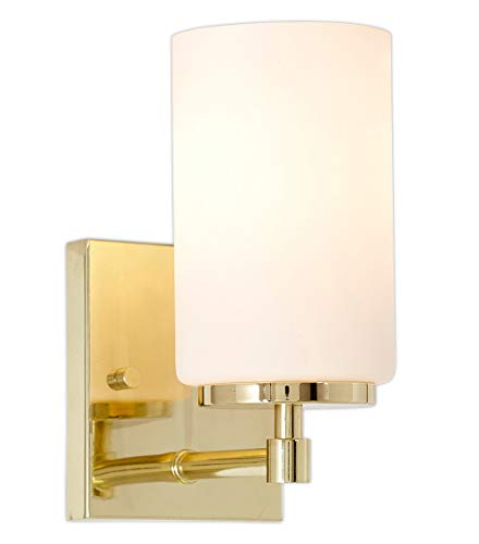 Frosted Glass Vanity Lights with Lightly Brushed and Polished Gold Wall Sconce