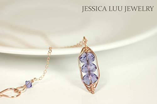 Tanzanite Crystal Pendant - Rose Gold Tanzanite Swarovski Crystal Necklace and Earrings Set Wire Wrapped Rose or Yellow Gold Pendant