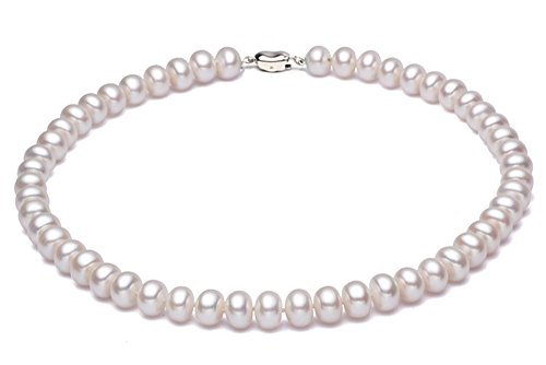 - JYX Classic 7mm White Freshwater Pearl Necklace Choker 16