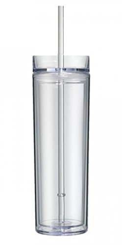 Simply Understated Clear Acrylic Skinny Tumbler 16oz. Double Wall with Lid and - 16 Tumbler Ounce California