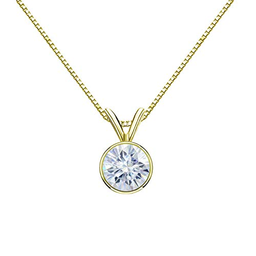 Diamond Wish 18K Yellow Gold Round Moissanite Solitaire Pendant 8mm 1.75 TGW in Bezel (White) 18