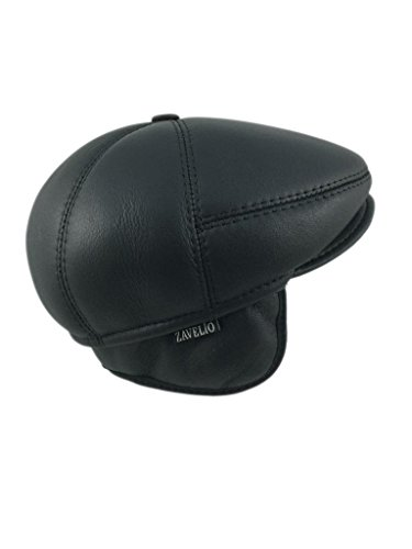 80a45d39a8d Zavelio Men s Leather Shearling Sheepskin 5 Panel Ivy Driving Cap ...