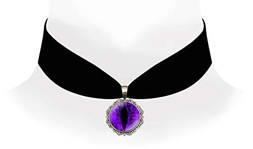 - Victorian Vault Steampunk Victorian Gothic Dragon Eye Black Velvet Choker Necklace (Purple)