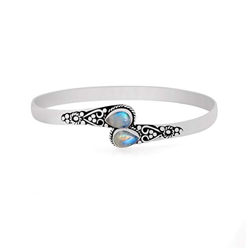 11.70gms,3.20ctw Genuine RainbowMoonstone .925 Silver Overlay Handmade Fashion Cuff Bangle Jewelry - Moonstone Silver Bangles