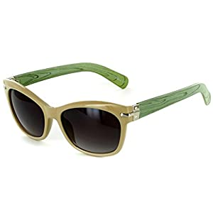 """Naturalist"" Wayfarer Cateye Sunglasses with Faux Woodgrain for Stylish Women (Cream/Green w/ Smoke)"