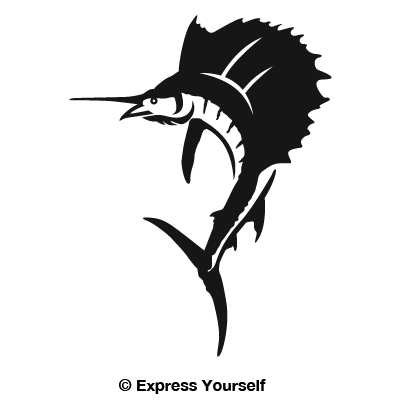 - Sailfish (Black - Image Facing as Shown - Small) Decal Sticker - Saltwater Fish Collection