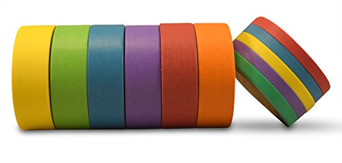 AIM HOBBIES Washi Masking Tape Set of 6 PLUS FREE BONUS SET OF 5 (Solid Colors 1)