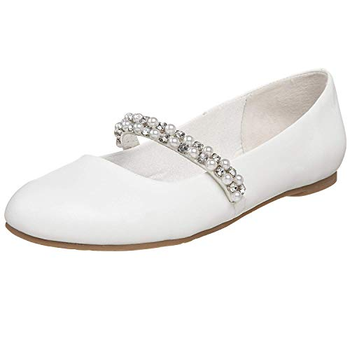 Kid Nataly Flat Strap, White Smooth, 3 M US Little Kid ()