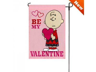 Peanuts BE MY VALENTINE Garden Flag 12