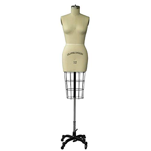 Professional Female Half Body Dress Form With Collapsible Shoulder And Arm (Size -