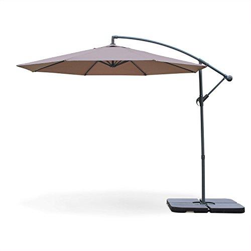Alice's Garden - Parasol déporté rond Ø300cm - Hardelot - Kaki - Manivelle anti-retour | Toile déperlante | Facile à utiliser