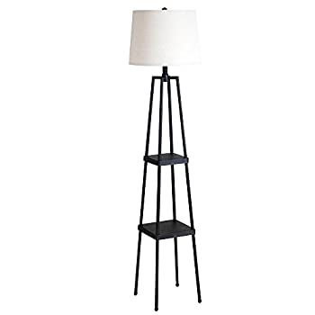 """Catalina Lighting 19305-000 Transitional Etagere Floor Lamp with Shelves, Ivory Beige Linen Shade and 3-Way Switch, 58"""", Distressed Iron Metal"""