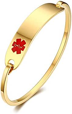 Free Custom Engraving Stainless Steel Catch Hook Oval Fit Medical Alert ID Bangle Bracelet