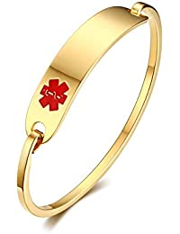 """(Free Engraving) Stainless Steel Medical Alert ID Bangle Bracelet,Gold Plated,8"""""""