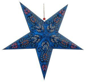Just-Artifacts-Star-Shaped-Paper-LanternLamp-Hanging-Decoration-24inch-Blue-Color-with-Pattern