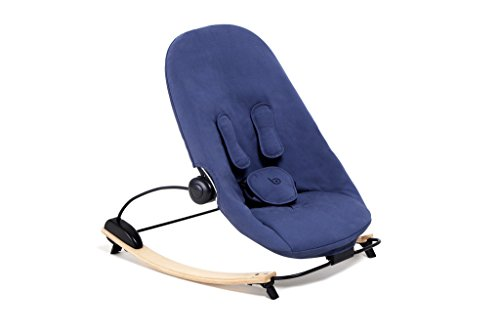 Bloom Coco Go 3-in-1 Baby Lounger/Bouncer/Rocker Natural Frame with Seat Pad in Organic Cotton Canvas (navy blue)
