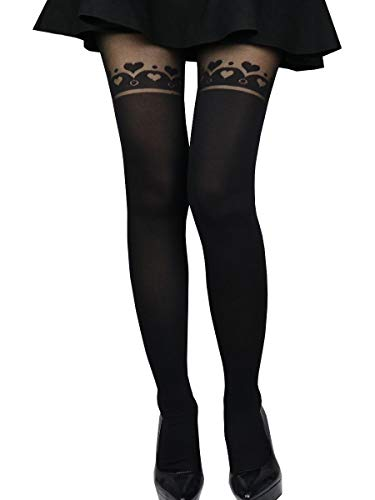Heart Sheer Thigh Highs - Sexy Cute Fashion Mock Thigh High Over Knee Sheer Pantyhose Stockings Tights (hearts circle)